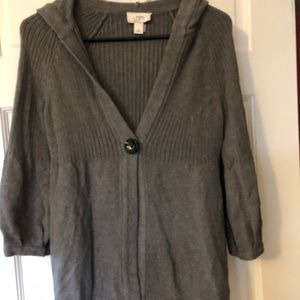 Gray Hooded Sweater Cardigan from the Loft